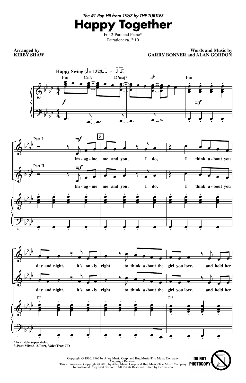 The Turtles 'Happy Together' Sheet Music Notes, Chords   Download Printable  Violin   SKU 15