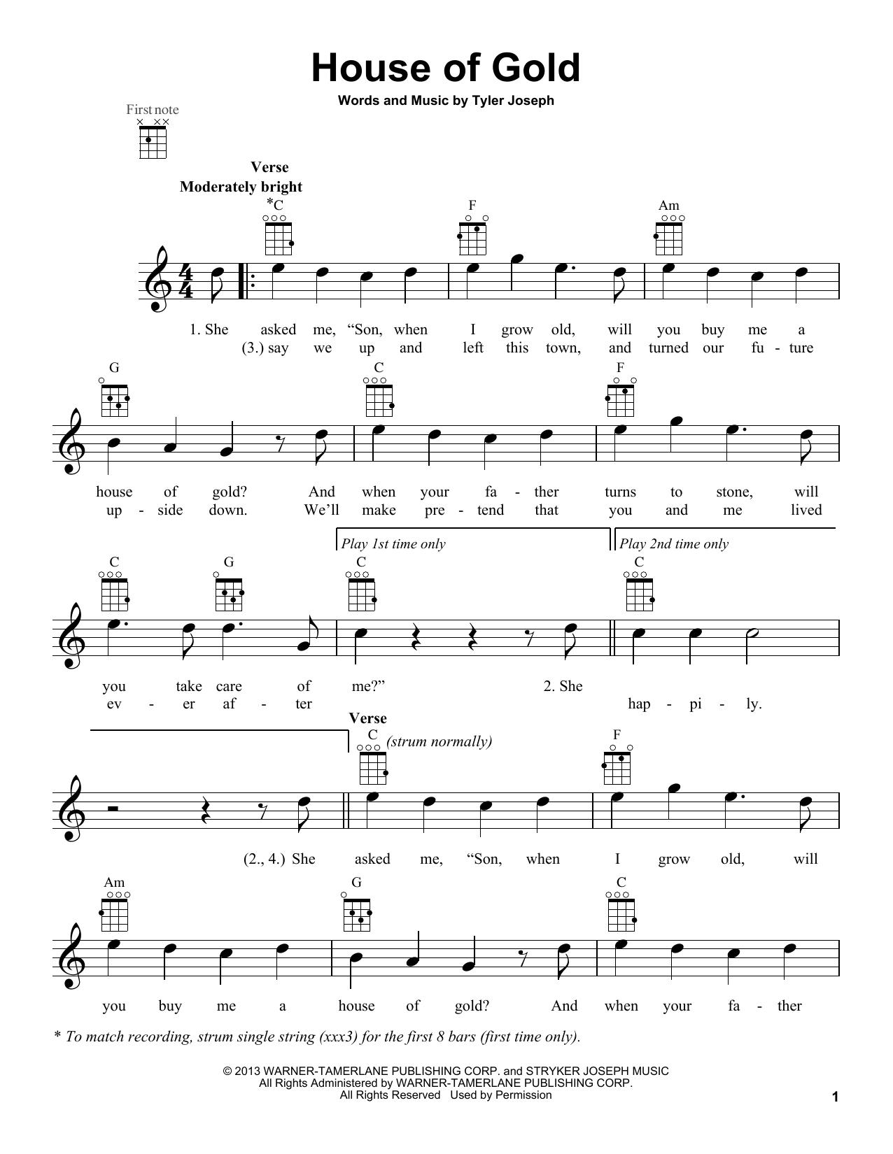 Twenty One Pilots 'House Of Gold' Sheet Music Notes, Chords   Download  Printable Ukulele   SKU 15