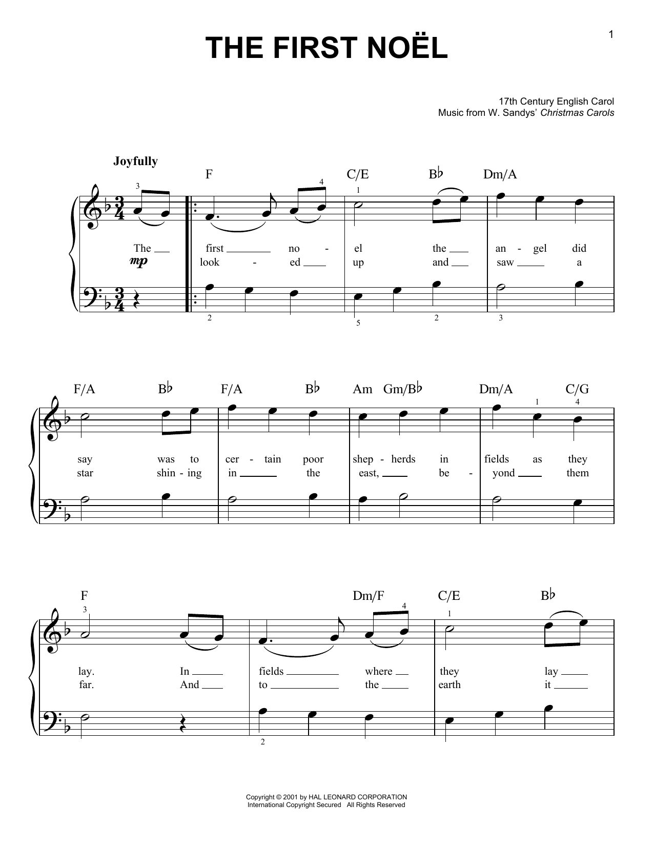 W Sandys Christmas Carols The First Noel Sheet Music Notes Chords Easy Piano Download Winter 159978 Pdf